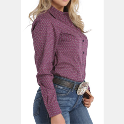 Cinch Women's Western Shirt Purple Geo Print