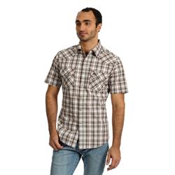 Wrangler Men's Retro Short Sleeve Tan Brown Western Shirt