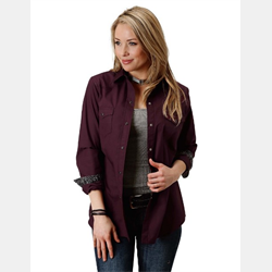Roper Women's Solid Plum Western Shirt