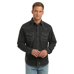 Wrangler Men's Retro Premium Charcoal Western Shirt