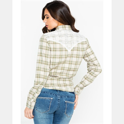 Wrangler Womens Green Plaid and Lace Shirt