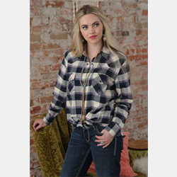 Cruel Girl Boyfriend Fit Purple Navy Brushed Twill Plaid Shirt