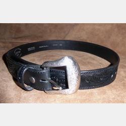 Vintage Bison Mens' Black Tooled Colt Belt