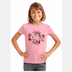 Rock N Roll Cowgirl Pink Horse Graphic T Shirt