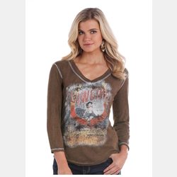 Panhandle Brown Top With Graphic Bling Design