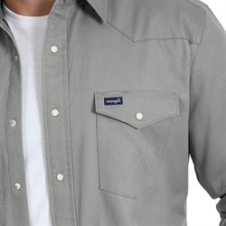 Wrangler Men's Flannel Lined Grey Snap Work Shirt