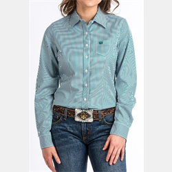 Cinch Women's Teal and White Striped Western Shirt