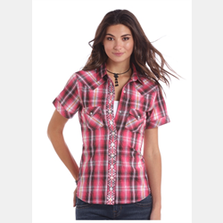 Panhandle Short Sleeve Pink Navy Plaid Shirt
