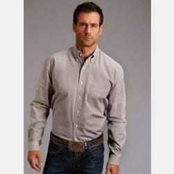 Stetson Men's Black Orange Lattice Diamond Print Western Shirt
