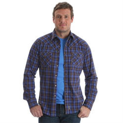 Wrangler Men's Retro Brown Blue Poplin Plaid