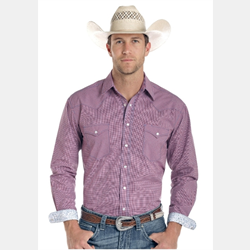 Panhandle Rough Stock Red Navy Check Western Shirt
