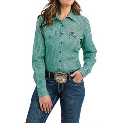 Cinch Ladies Teal and Black Geo Print Snap Western Shirt