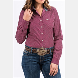 Cinch Women's Burgundy Dot Print Western Shirt