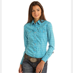 Rock and Roll Cowgirl Juniors Turquoise Shirt