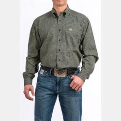 Cinch Men's Tencel Grey Diamond Print Button Up Western Shirt