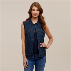 Wrangler Womens Denim Vest With Red Shoulders