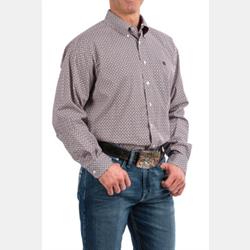 Cinch Men's White Purple Lime Geo Print Western Shirt