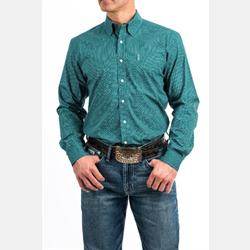 Cinch Turquoise Brown Geometric Print Western Shirt