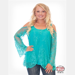 Cowgirl Tuff Turquoise Lace Cold Shoulder Blouse