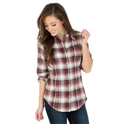 Wrangler Ladies As Real As Wrangler Red Plaid Top