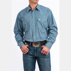 Cinch Men's Blue Geometric Print Snap Western Shirt