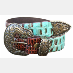 Vintage Bison Knox Full Grain Leather Brown Turquoise Belt