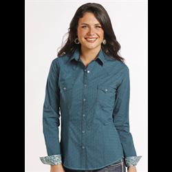 Panhandle Slim Women's Teal Print Western Shirt