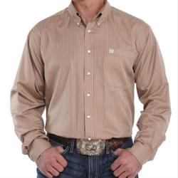 Cinch Men's Tencel Khaki Striped Button Down Shirt