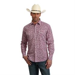Wrangler Men's 20X Competition Advanced Comfort Wine Paisley Shirt