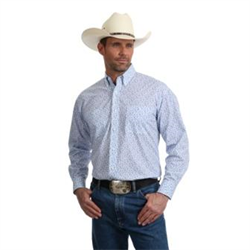 Wrangler George Strait Relaxed Fit Blue Paisley Western Shirt