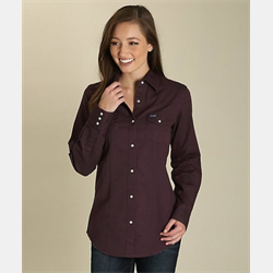 Wrangler Long Sleeve Plum Snap Western Shirt