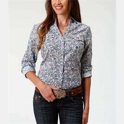 Roper Ladies Blue Paisley Snap Down Western Shirt