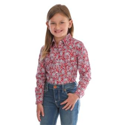 Wrangler Girl's Red Blue Paisley Snap Front Western Shirt