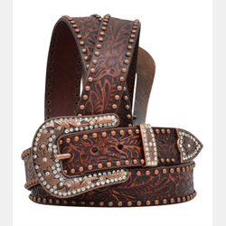 3D Ladies Brown Floral Embossed Belt With Bronz Spots