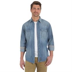 Wrangler Retro Long Sleeve Denim Shirt with Grey Snaps