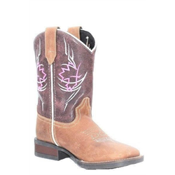 Roper Kids Brown Wine Square Toe Cowboy Boots