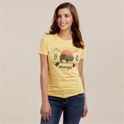 Wrangler Womens Yellow T-Shirt with Buffalo