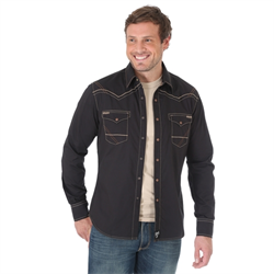 Rock 47® By Wrangler® Western Shirt Black with Tan Stitch