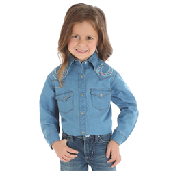 WW/SHIRT/WRG/GW7221D-XXS/GIRLS/DENIM  W HORSESHOE EMBROID