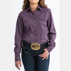Cinch Women's Purple Geometric Print Western Shirt