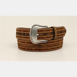 Nocona Men's Brown Barbed Wire Edge Fur Inlay Belt