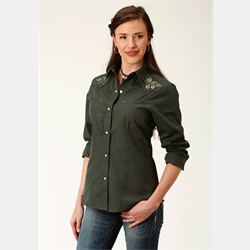 Roper Ladies Olive Snap Front Western Shirt