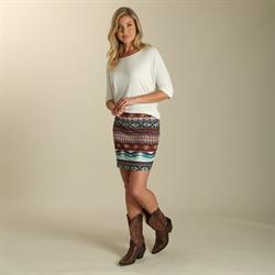 Wrangler® Western Fashion Mini Skirt Aztec Ponte