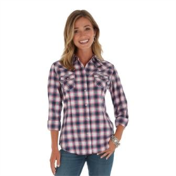 Wrangler Ladies White Blue Red Paid Snap Front Shirt