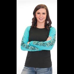 Cowgirl Tuff Ladies Black Turquoise Aztec Print T Shirt