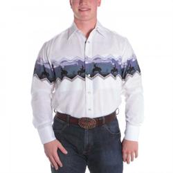 Panhandle Slim Men's White Purple Western Border Shirt