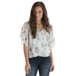 Wrangler® Western Fashion Top Cream with Flowers