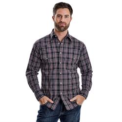 Wrangler Men's Wrinkle Resistant Grey Black Red Plaid Western Shirt