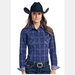 Panhandle Slim Women's Plum Plaid Aztec Western Shirt