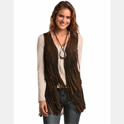 Rock and Roll Cowgirl Brown Frill Vest